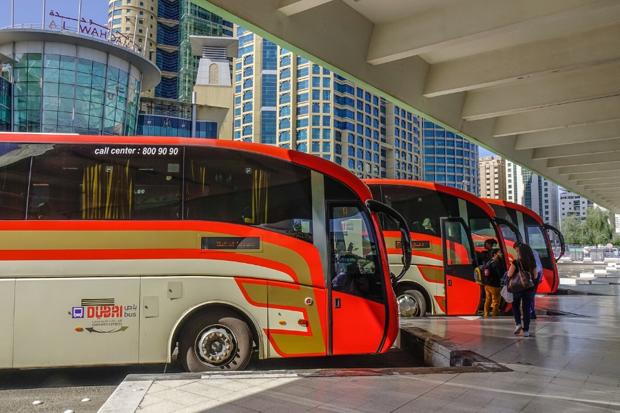 Intercity buses parked at Abu Dhabi Central Bus Station