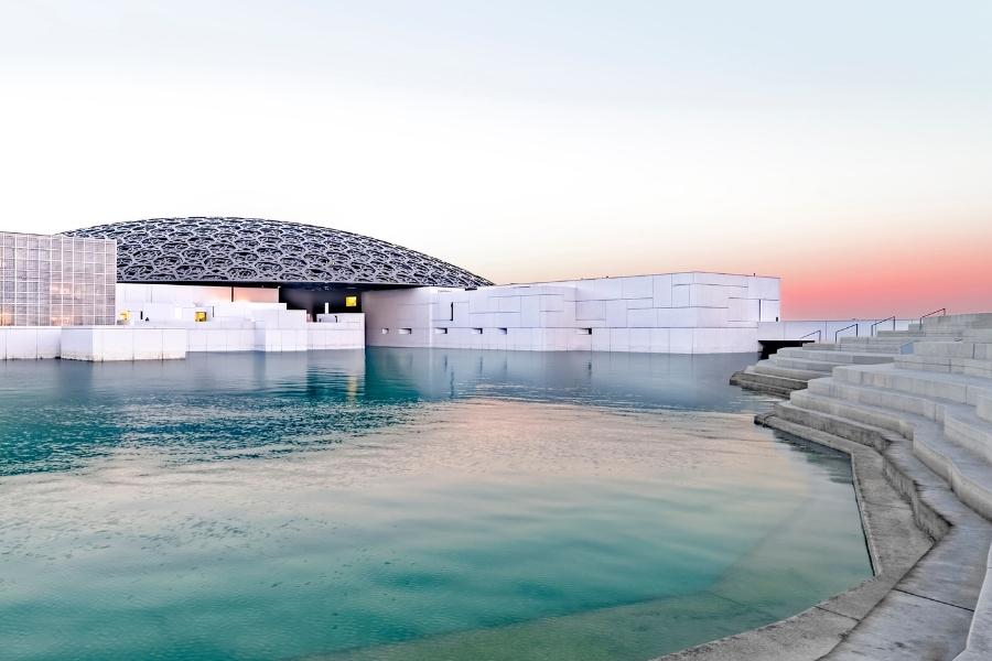 Louvre Abu Dhabi sunset light