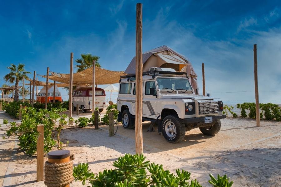 Wheeled campers at Bal Al Najoum glamping site on Al Hudayriyat Island