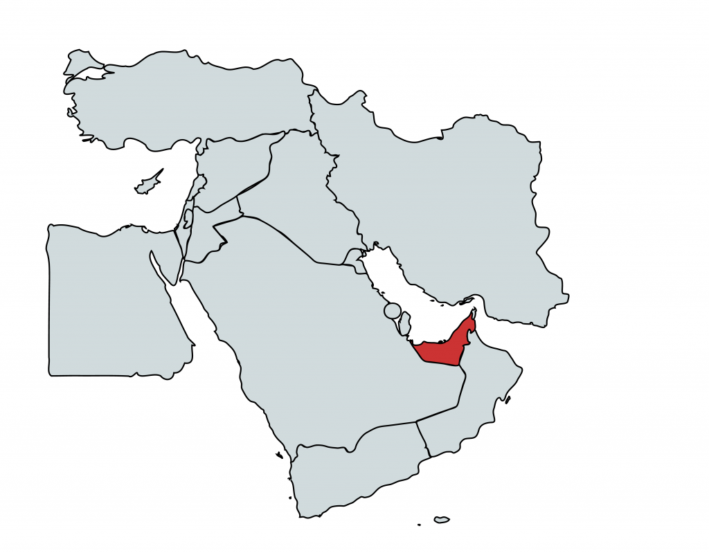 The UAE on a map of the Middle East