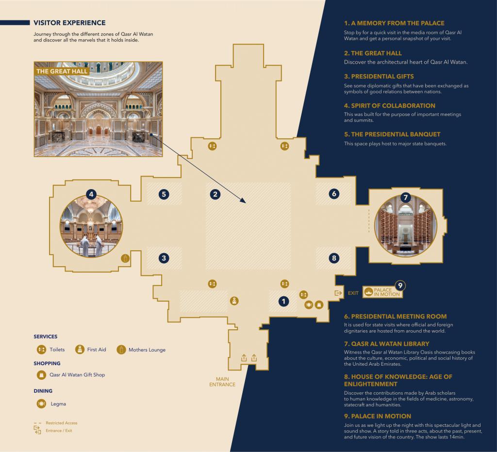 Map of Qasr Al Watan Presdiential Palace Abu Dhabi