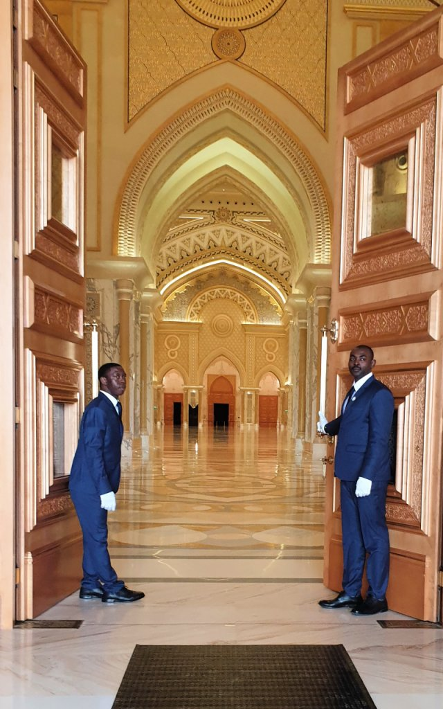 Solid maple entrance doors to Qasr Al Watan