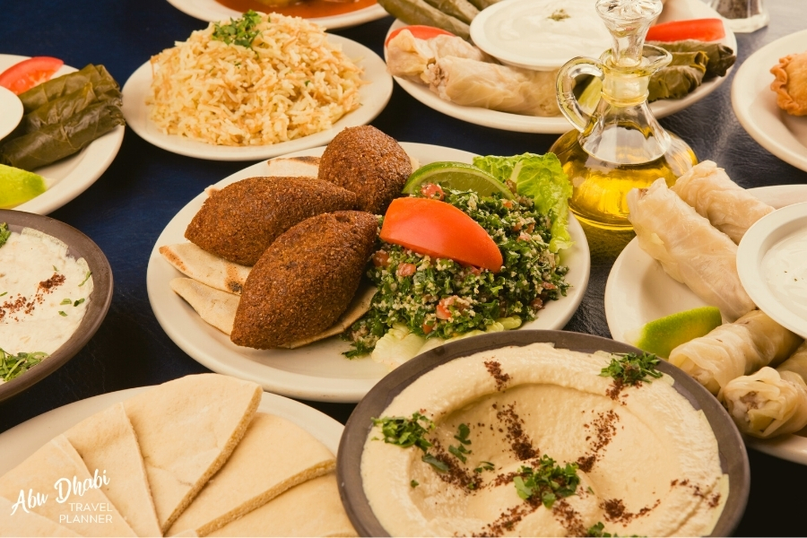 A selection of different Arabic bbq dishes served at an evening desert safari in Abu dhabi