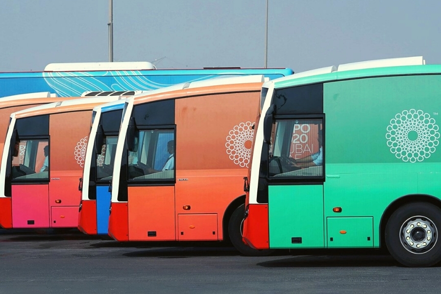 Fleet of Expo Roder buses taking visitors to Expo 2020 dubai